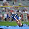 Longmont High School's Josh Cogdill disappears into the safety mats after successfully clearing the bar in the boys 4A high jump during the 2012 State Track and Field Championships Friday, May 18, 2012 at Jeffco Stadium in Lakewood.<br /> (Matthew Jonas/Times-Call)