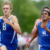 Broomfield's Joe Mitchem (left)  runs the 4A Boys 800 during the second day of the State Track and Field Championships in Lakewood, Colorado May 18, 2012. CAMERA/ MARK Leffingwell