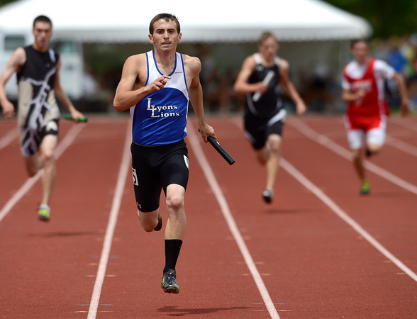 Lyons' Forrest Donnell runs anchor for the finish of the 2A Boys 4x200 relay during the second day of the State Track and Field Championships in Lakewood, Colorado May 18, 2012. CAMERA/ MARK Leffingwell