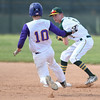 Avon's Ryan Socha (10) slides in to a forceout as Amherst's Ryan Glowacki looks to throw to first. Eric Bonzar — The Morning Journal