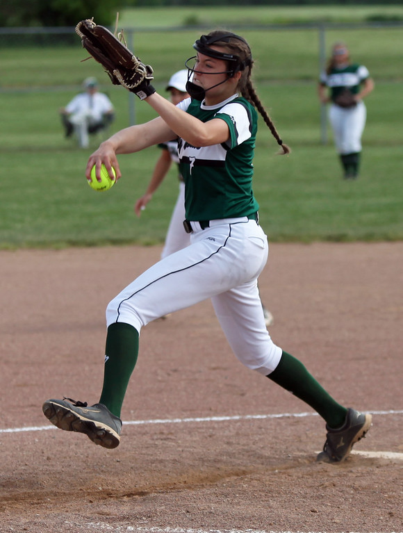 . Nikki Camarati of Holy Name delivers a pitch against Keystone. Randy Meyers -- The Morning Journal