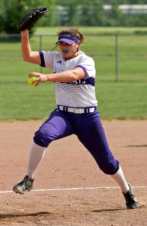 . Keystone\'s Lauren Shaw delivers a pitch against Holy Name. Randy Meyers -- The Morning Journal
