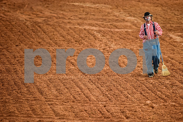 A rodeo clown walks in the arena during the 30th annual Lindale Championship Rodeo in Lindale, Texas, on Thursday, May 18, 2017. The rodeo featured everything from cattle roping and mutton busting to bull riding and calf scrambles. (Chelsea Purgahn/Tyler Morning Telegraph)