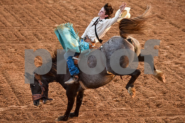 Lane Lurkey competes in bareback riding during the 30th annual Lindale Championship Rodeo in Lindale, Texas, on Thursday, May 18, 2017. The rodeo featured everything from cattle roping and mutton busting to bull riding and calf scrambles. (Chelsea Purgahn/Tyler Morning Telegraph)