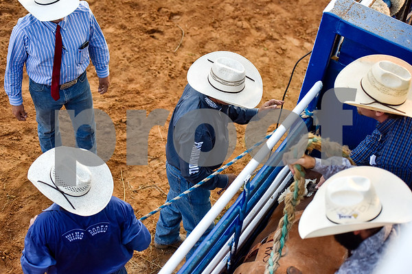 People prepare for an event during the 30th annual Lindale Championship Rodeo in Lindale, Texas, on Thursday, May 18, 2017. The rodeo featured everything from cattle roping and mutton busting to bull riding and calf scrambles. (Chelsea Purgahn/Tyler Morning Telegraph)
