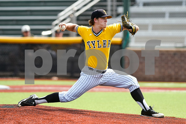 Tyler Junior College's James Kuykendall pitches during the District C tournament at Mike Carter Field in Tyler, Texas, on Thursday, May 18, 2017. (Chelsea Purgahn/Tyler Morning Telegraph)