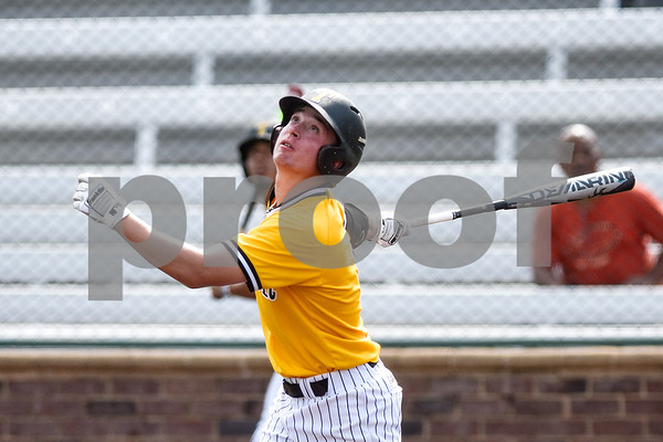 Tyler Junior College's Braden Wise looks up after he swings during the District C tournament at Mike Carter Field in Tyler, Texas, on Thursday, May 18, 2017. (Chelsea Purgahn/Tyler Morning Telegraph)