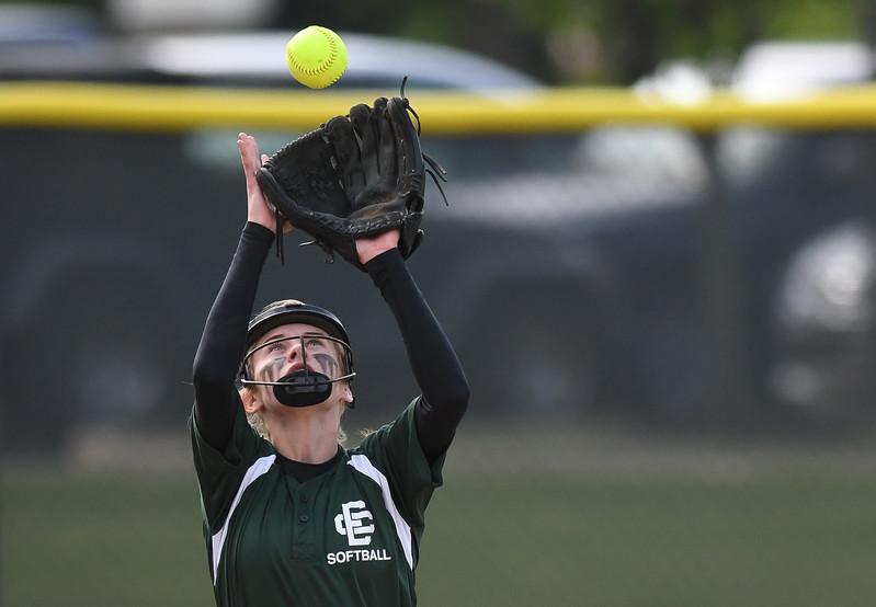Elyria Catholic shortstop Sam Filiaggi camps under an infield fly. Eric Bonzar — The Morning Journal