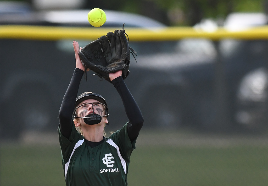 . Elyria Catholic shortstop Sam Filiaggi camps under an infield fly. Eric Bonzar � The Morning Journal