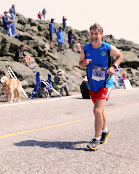 Michael Graham, of Gilford, NH, approaches the finish of the 51st Mount Washington Road Race, which was held on Saturday, June 18th, 2011, in Pinkham Notch, NH. Mr Graham completed the grueling course up the 7.6 mile Mount Washington Auto Road, in 1:35:34. The 6,288' Mount Washington, is the highest peak in the northeastern United States.