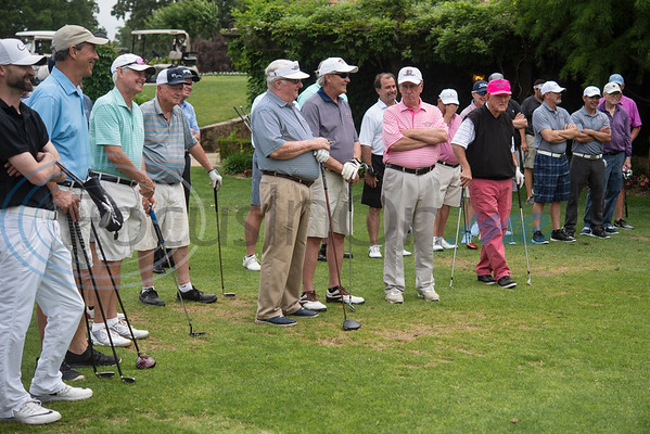 Local golfers and golf professionals attend a golf clinic held at the start of the Jacky Cupit Legends for Life Golf Tournament at The Cascades Golf & Country Club in Tyler on May 20, 2019. The event benefitted the Cancer Foundation For Life and the Fitsteps for Life program.  (Sarah A. Miller/Tyler Morning Telegraph)