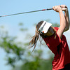 Skyline's Adara Pauluhn tees off on number 10 at the start of the 2012 Girl's State Golf Tournament in Aurora, Colorado May 21, 2012. CAMERA/ MARK Leffingwell