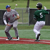 The ball gets away from Peter Cooper of Bay at first base and Tony LoParo of Elyria Catholic reaches safely. Randy Meyers -- The Morning Journal