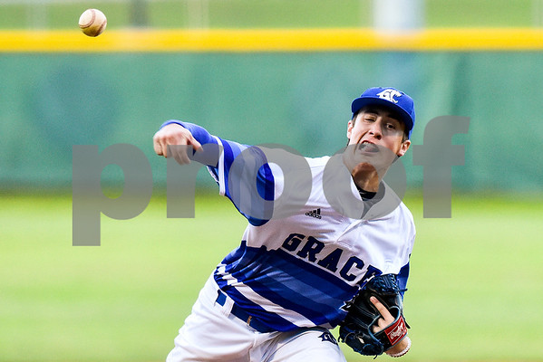 Grace Community's Blake Hubbard pitches during a high school playoff game at Grace Community School in Tyler, Texas, on Thursday, May 4, 2017. (Chelsea Purgahn/Tyler Morning Telegraph)