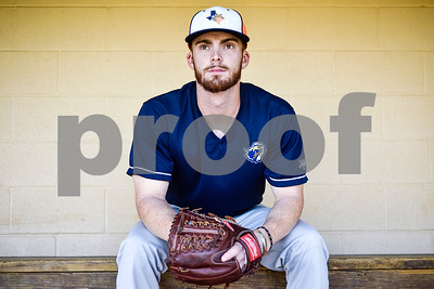 Senior pitcher Cody Brown poses for a portrait during a media day for The University of Texas at Tyler baseball team at Irwin Field in Tyler, Texas, on Tuesday, May 2, 2017. (Chelsea Purgahn/Tyler Morning Telegraph)