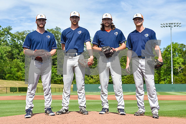 From left to right, pitchers Cody Brown, Ryan Cheatham, Cason Adams and Reese Read pose for a portrait during a media day for The University of Texas at Tyler baseball team at Irwin Field in Tyler, Texas, on Tuesday, May 2, 2017. (Chelsea Purgahn/Tyler Morning Telegraph)