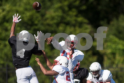 Chance Amie (12) throws the ball during the Robert E. Lee spring football game at Robert E. Lee High School in Tyler, Texas, on Wednesday, May 24, 2017. The defense beat the offense 43-12.(Chelsea Purgahn/Tyler Morning Telegraph)