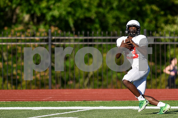 Malik Hall (23) completes a pass and runs to the end zone for a touchdown during the Robert E. Lee spring football game at Robert E. Lee High School in Tyler, Texas, on Wednesday, May 24, 2017. The defense beat the offense 43-12.(Chelsea Purgahn/Tyler Morning Telegraph)