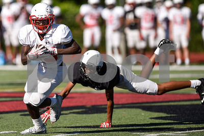 Malcolm Miller (15) runs the ball during the Robert E. Lee spring football game at Robert E. Lee High School in Tyler, Texas, on Wednesday, May 24, 2017. The defense beat the offense 43-12.(Chelsea Purgahn/Tyler Morning Telegraph)