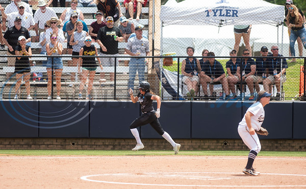 Texas Lutheran University's Skylar Ouellette runs to home plate during their game against Emory University on Monday May 27, 2019 in the NCAA Division III Softball Championship at Suddenlink Field in Tyler.   (Sarah A. Miller/Tyler Morning Telegraph)