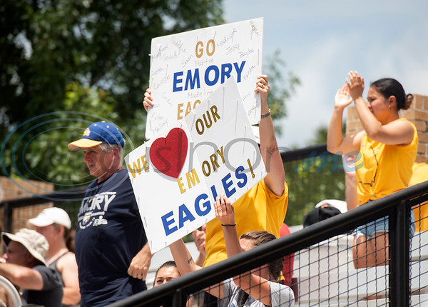 Emory University softball fans hold up signs as the Eagles play Texas Lutheran University during their first game on Monday May 27, 2019 in the NCAA Division III Softball Championship at Suddenlink Field in Tyler.   (Sarah A. Miller/Tyler Morning Telegraph)