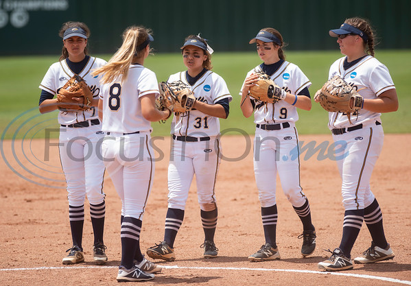 Emory University pitcher Madison Schaefer (8) talks with her teammates as the Eagles play Texas Lutheran University during their first game on Monday May 27, 2019 in the NCAA Division III Softball Championship at Suddenlink Field in Tyler.   (Sarah A. Miller/Tyler Morning Telegraph)