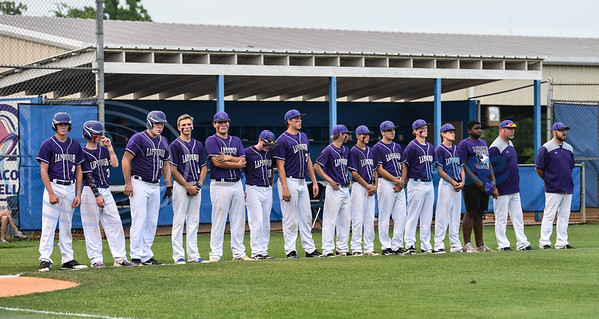 The La Poynor baseball team takes the field prior to starting game one of the playoffs against Wells. The teams played in Jacksonville on Tuesday, May 28. Game two will also be played in Jacksonville on Thursday, May 30. (Jessica T. Payne/Tyler Morning Telegraph)
