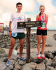 Sage Canaday, of Boulder, CO, and Kim Dobson, of of Denver, Colorado, got together at the summit of Mt. Washington, after winning their divisions of the 52nd running of The Northeast Delta Dental Mount Washington Road Race, in Pinkham Notch, NH, on June 16th, 2012. 1,200 runners raced up the 7.6 mile Mount Washington Auto Road, to the 6,288' summit, tallest peak in the northeastern United States. Mr Canaday won the men's division, with a time of 58:27, and Ms. Dobson's women's winning time was 1:09:25.