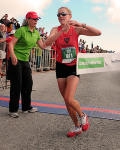 Kim Dobson, of of Denver, Colorado, with a time of 1:09:25, won the women's division, of the 52nd running of The Northeast Delta Dental Mount Washington Road Race, in Pinkham Notch, NH, on June 16th, 2012. 1,200 runners raced up the 7.6 mile Mount Washington Auto Road, to the 6,288' summit, tallest peak in the northeastern United States.