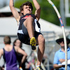 Fairview's Jacob Kirlan-Stout vaults during the St. Vrain Invitational Longmont, Colorado May 4, 2012. BOULDER DAILY CAMERA/MARK LEFFINGWELL