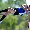 Lyons' Brittany King attempts a vault during the St. Vrain Invitational Longmont, Colorado May 4, 2012. BOULDER DAILY CAMERA/MARK LEFFINGWELL