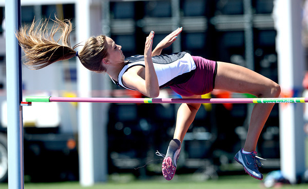 Megan Foster, of Silver Creek, attempts the high jump during the St. Vrain Invitational Longmont, Colorado May 4, 2012. BOULDER DAILY CAMERA/MARK LEFFINGWELL