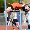 Erie's Haley Gallagher makes an attempt at the high jump during the St. Vrain Invitational Longmont, Colorado May 4, 2012. BOULDER DAILY CAMERA/MARK LEFFINGWELL