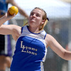 Lyon's Michelle Hickey throws her shot putt during the St. Vrain Invitational Longmont, Colorado May 4, 2012. BOULDER DAILY CAMERA/MARK LEFFINGWELL