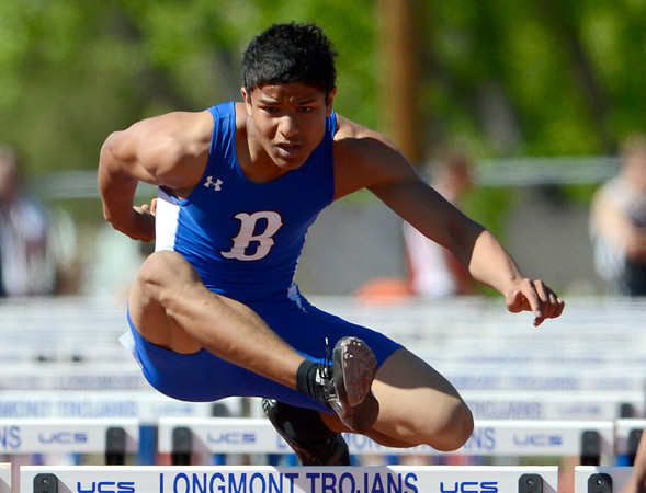Broomfield's Mani Shankar runs the 110 meter hurdles during the St. Vrain Invitational Longmont, Colorado May 4, 2012. BOULDER DAILY CAMERA/MARK LEFFINGWELL
