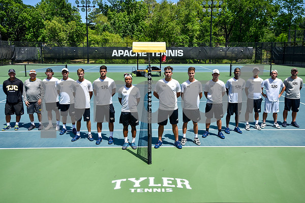 The Tyler Junior College mens tennis team and coaches pose for a photo at JoAnn Medlock Murphy Tennis Center in Tyler, Texas, on Thursday, May 4, 2017. The team will be heading to nationals in Tuscon, Arizona. (Chelsea Purgahn/Tyler Morning Telegraph)