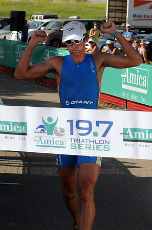 Joshua Rix of Australia is the first runner to finish, but he came in second overall at the 5430 Sprint Triathlon.<br /> Cliff Grassmick / June 20, 2010