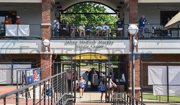 Spectators gather at the JoAnn Medlock Murhpy Tennis Center on the Tyler Junior College campus for the NJCAA National Tennis Tournament. TJC hosted the tournament which started on Saturday, May 5 and will continue until May 10. (Jessica T. Payne/Tyler Morning Telegraph)