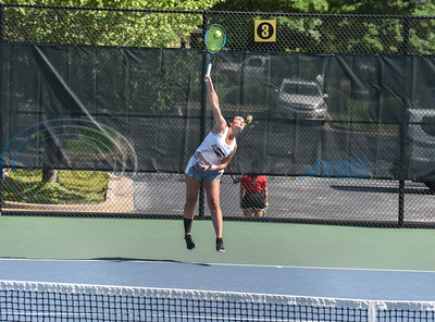 Lady Apache Lucie Devier serves the ball during a match at the NJCAA National Tennis Tournament on Saturday, May 5. Tyler Junior College hosted the event at the JoAnn Medlock Murphy Tennis Center. (Jessica T. Payne/Tyler Morning Telegraph)