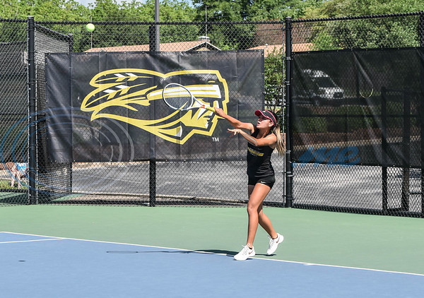 Laredo College sophomore Chantal Lozano knocks the ball across the net during the NJCAA National Tennis Tournament at the JoAnn Medlock Murphy Center at Tyler Junior College. Several schools attended the tournament which will continue through May 10. (Jessica T. Payne/Tyler Morning Telegraph)