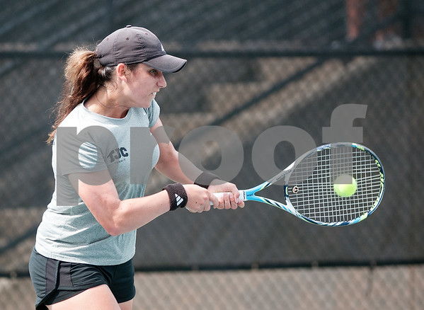 photo by Sarah A. Miller/Tyler Morning Telegraph  Tyler Junior College's Joanna Savva plays a singles tennis match against Georgia Perimeter College's Fatyha Berjane (not pictured) Friday morning at TJC's JoAnn Medlock Murphy Tennis Center.