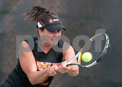 photo by Sarah A. Miller/Tyler Morning Telegraph  Cowley College's Ana Ruzir competes in a singles match against Natella Nabieva (not pictured) Tuesday morning during the NJCAA Women's National Tennis Championship at TJC's JoAnn Medlock Murphy Tennis Center.