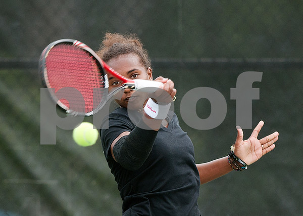 photo by Sarah A. Miller/Tyler Morning Telegraph  Tyler Junior College's Fausthyara Pietersz competes in a singles match against Niriantsa Rasolomalala of Georgia Perimeter College Wednesday during the NJCAA Women's National Tennis Tournament held at TJC.