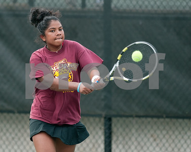 photo by Sarah A. Miller/Tyler Morning Telegraph  Niriantsa Rasolomalala of Georgia Perimeter College competes in a singles match against Tyler Junior College's Fausthyara Pietersz Wednesday during the NJCAA Women's National Tennis Tournament held at TJC.