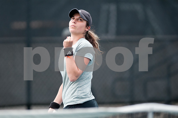photo by Sarah A. Miller/Tyler Morning Telegraph  Tyler Junior College's Joanna Savva celebrates after scoring a point as she plays a singles tennis match against Georgia Perimeter College's Fatyha Berjane (not pictured) Friday morning at TJC's JoAnn Medlock Murphy Tennis Center.