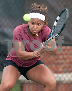 photo by Sarah A. Miller/Tyler Morning Telegraph  Georgia Perimeter College's Fatyha Berjane plays a singles tennis match against Tyler Junior College's Joanna Savva (not pictured) Friday morning at TJC's JoAnn Medlock Murphy Tennis Center.
