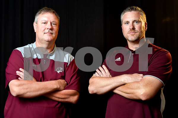Darin Harley and Tommy Cross pose for a portrait at the Tyler Morning Telegraph in Tyler, Texas, on Monday, May 8, 2017. Harley is the boys basketball coach at Troup High School and Cross is the girls basketball coach at Martin's Mill High School. Harley is the All-East Texas Boys Basketball Coach of the Year and Cross is the All-East Texas Girls Basketball Coach of the Year. (Chelsea Purgahn/Tyler Morning Telegraph)