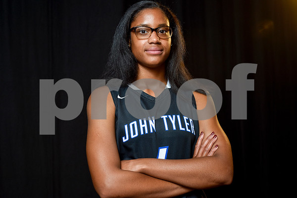 Alyssa Mayfield poses for a portrait at the Tyler Morning Telegraph in Tyler, Texas, on Monday, May 8, 2017. Alyssa is a senior at John Tyler High School and is the All-East Texas Girls Basketball Player of the Year. (Chelsea Purgahn/Tyler Morning Telegraph)