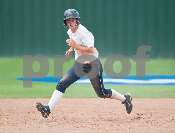 photo by Sarah A. Miller/Tyler Morning Telegraph  University of Texas at Tyler's Lauren Robenalt runs from second to third base Friday during their softball game at home against Texas Lutheran University.