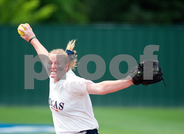 photo by Sarah A. Miller/Tyler Morning Telegraph  University of Texas at Tyler's Kelsie Batten pitches Friday during their softball game at home against Texas Lutheran University.